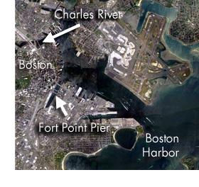 Fort Point and Boston Harbor satellite photo