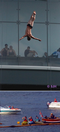 Red Bull high divers at ICA, Institute for Contemporary Art, Boston.